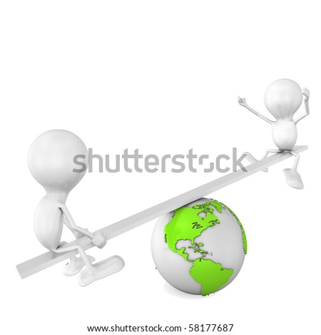 Men and Globe balance - stock photo