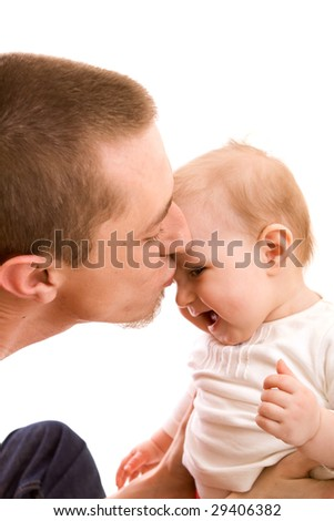 Men and his baby on white background