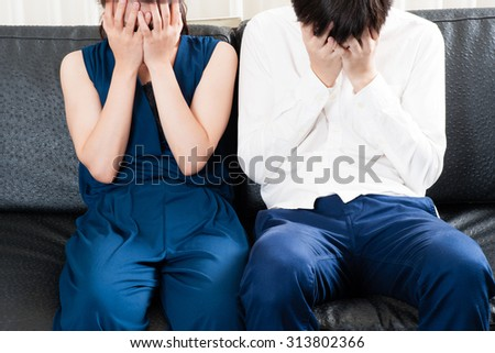 Men and women couple facing trouble