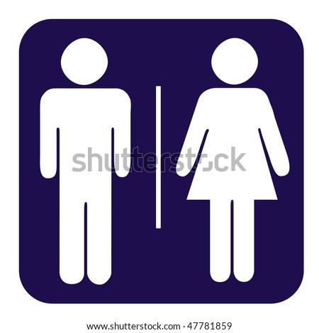 Men and women toilet button isolated on white background. - stock photo