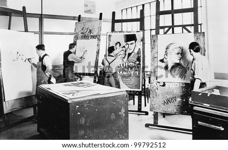 Men at a drawing class - stock photo