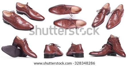 Men Brown elegance Shoes isolated on white background