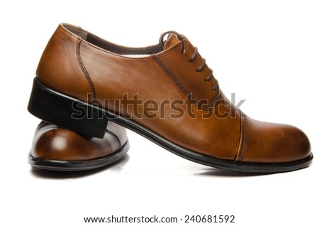 Men Brown Shoes - stock photo