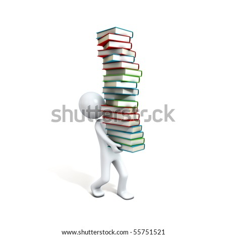Men carrying a lot of library books. Three-dimensional Shape, isolated on white - stock photo
