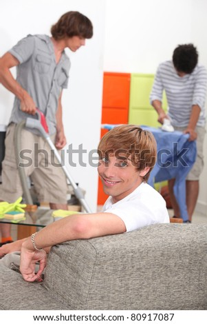 Men cleaning - stock photo