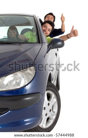 Men coming out from the window of a car - isolated over a white background - stock photo