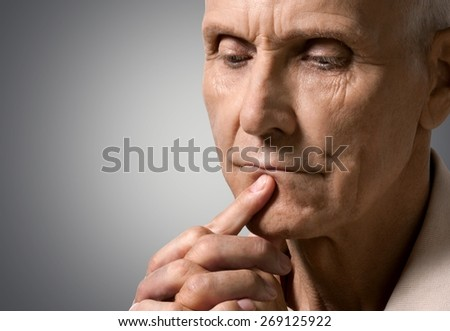 Men. Deep in thoughts - stock photo