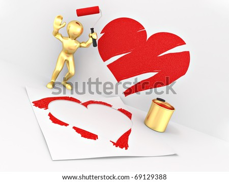 Men, drawing heart on the wall. 3d - stock photo
