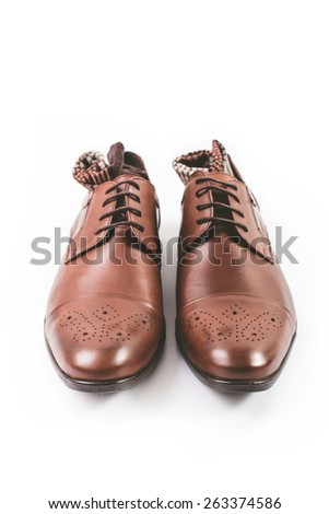 Men fashion. Men accessories. Men socks and brown elegant shoes. Still life  - stock photo