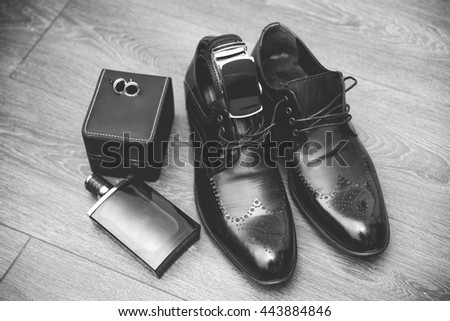 Men fashion. Men accessories, Still life. Business look.
