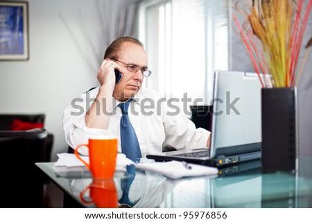 men freelance working at home talking - stock photo