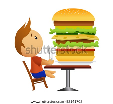 Men going to eat very big hamburger. Vector available. - stock photo