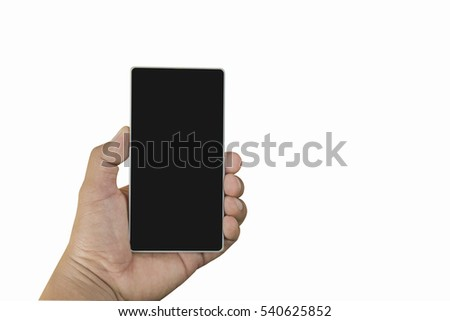 Men hand holding black phone isolated on white background with clipping path