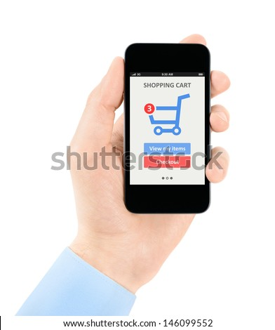 Men hand holding modern mobile phone with online shopping application on a screen. Isolated on white background. - stock photo