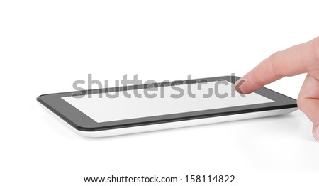 Men hand holding tablet computer on white background. - stock photo