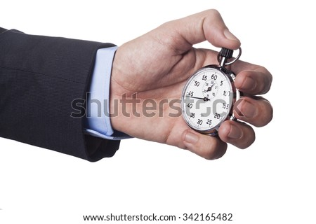 Men Hand in Suit Holding Silver Analog Stopwatch Isolated on White - stock photo