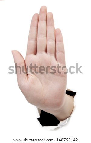 Men hand showing stop gesture against a white background. Studio shot. - stock photo