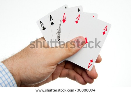 Men hand with playing cards