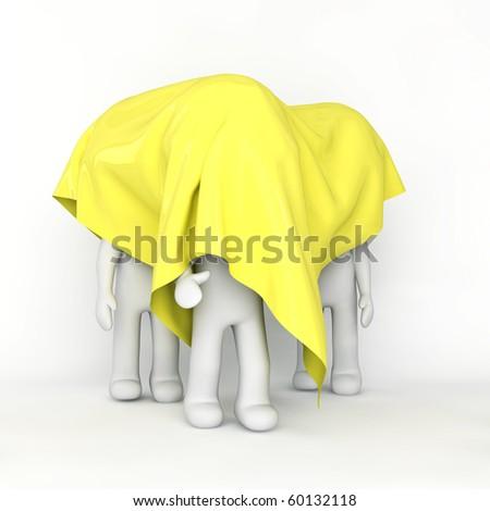 Men hiding under a blanket - stock photo