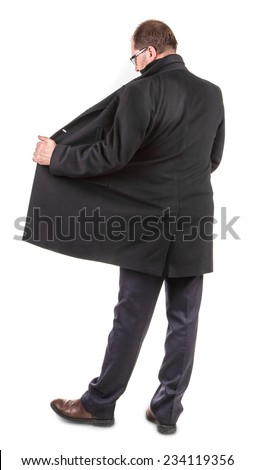 men in a black coat. isolated on a white background