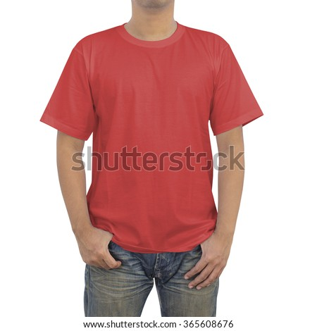 Men in a blue jeans and red T-shirt on white background - stock photo