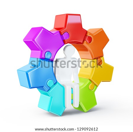 men in gear on a white background - stock photo