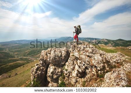 men in hike - stock photo