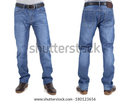 men in jeans trousers on white background back and front views - stock photo
