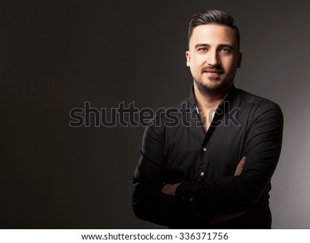 Men in shirt on grey background in studio photos - stock photo