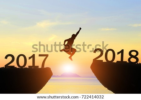 Men jump Silhouette new year 2018