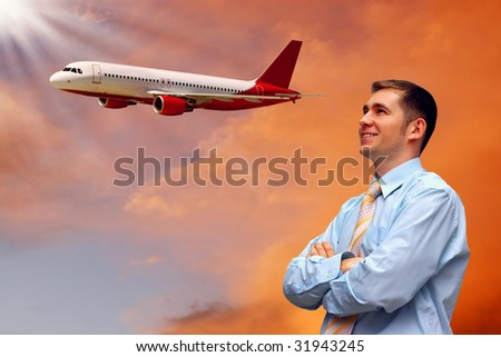 men look on airplane in air with sunrise sky - stock photo