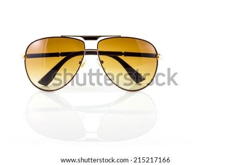 men metall sunglasses on white background - stock photo
