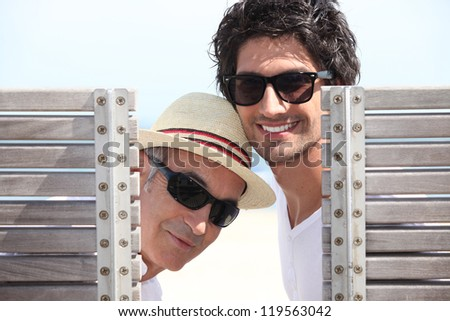 Men on holiday - stock photo