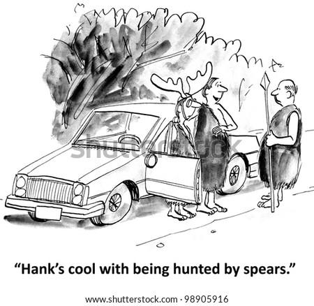 men on retreat hunt Hank with spears - stock photo