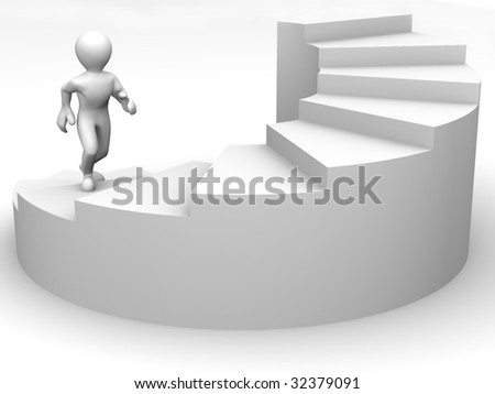 Men on stairs. 3d - stock photo