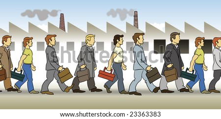 Men on their way to work