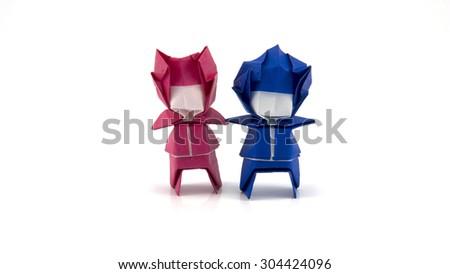 men origami on white background - stock photo