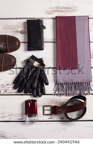 Men's accessories. Men's clothing. Shop of stylish clothes. - stock photo