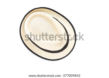 Men's accessories with vintage hat on white background - stock photo