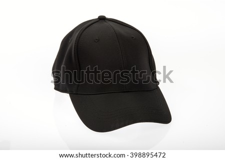 Men's black golf cap on white background