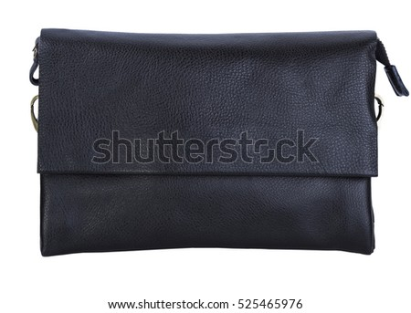 Men's black leather bag on a white background