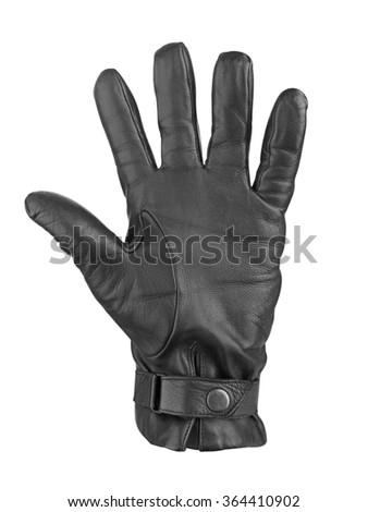 Men's black leather gloves isolated on white background - stock photo