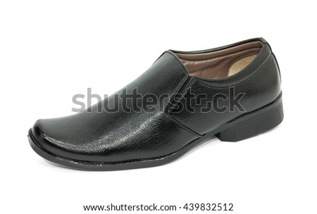 Men's black shoes on white background