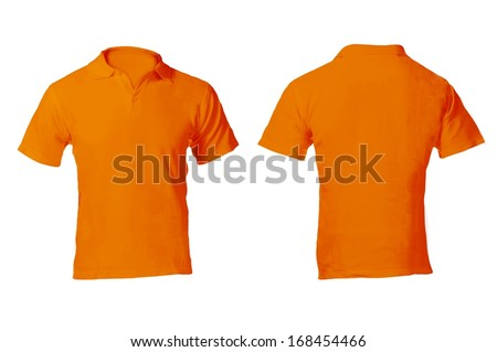 Men's Blank Orange Polo Shirt, Front and Back Design Template - stock photo