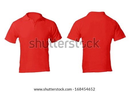 Men's Blank Red Polo Shirt, Front and Back Design Template - stock photo