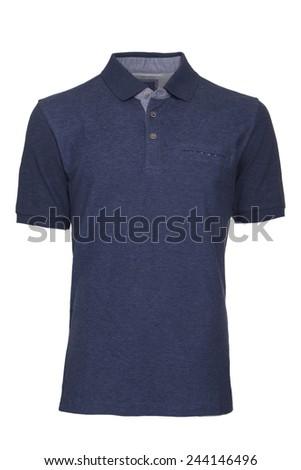Men's blue Polo Shirt isolated - stock photo