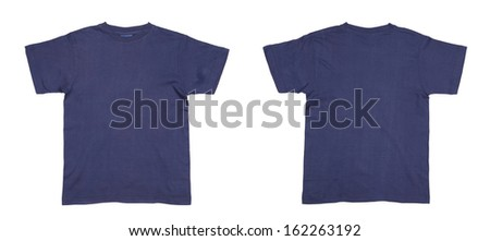 Men's blue T-shirt. Isolated on a white background. - stock photo