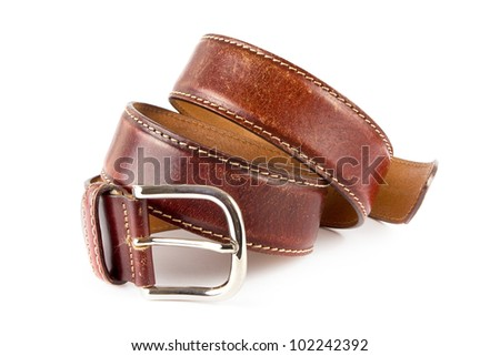 Men's brown leather belt over white