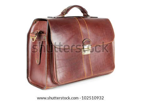 Men's brown leather business briefcase isolated on white background