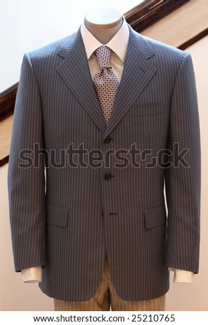 men's business suit on a dummy - stock photo